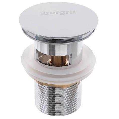Донний клапан для умивальника з переливом (кнопка) IBERGRIF M20502 (IB0087), фото 2