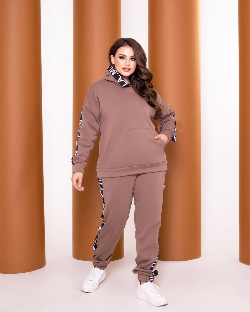 Теплый спортивный костюм турецкая трехнить батник с капюшоном штаны размер от 52 до 62