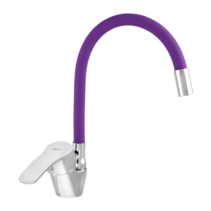 Змішувач для кухні ZERIX YUB 279 з фіолетовим гнучким виливом (ZX0442)