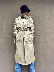 Довгий жіночий тренч Bilichka Тканина - 100% коттон (Світло-бежевий)
