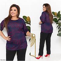 Стильний і комфортний костюм блуза в принт + штани з трикотажу дайвінг р:52-54, 56-58, 60-62, 64-66 арт. 3531