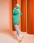 Жіночий подовжений худі-туніка з капюшоном і накатом в колір тканини, 42-48, чорний, зелений, ліловий, цегла, фото 2