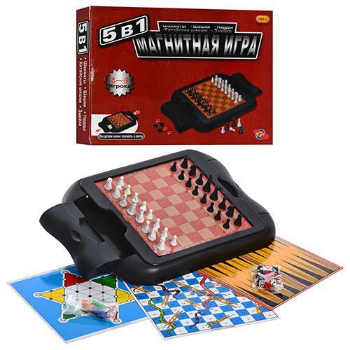 Шахматы набор игр 5в1. Магнитные