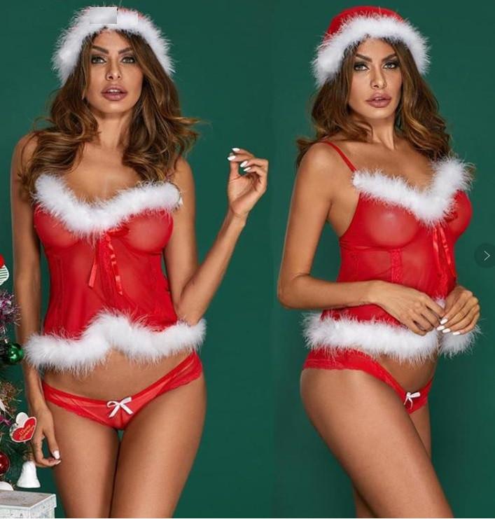 Сексуальный новогодний комплект нижнего белья для ролевых игр