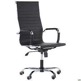 Офісне крісло комп'ютерне AMF Slim HB Хром Tilt чорне