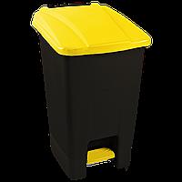 Бак для мусора с педалью Planet 70 л черный - желтый