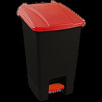 Бак для мусора с педалью Planet 70 л черный - красный