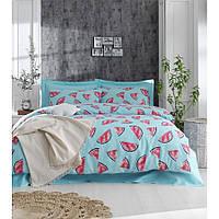 Постельное белье Eponj Home - Karpuz a.mavi голубой ранфорс евро