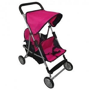 Прогулянкова, лялькова коляска для двійні з прогумованими колесами і широкою ручкою Melogo 9618, колір рожевий