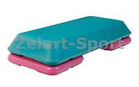 Степ-платформа (пластик, покрытие TPR, р-р 72Lx36,5Wx15H, серый-бордовый)
