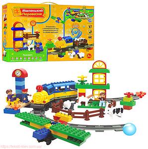 Дитячий конструктор залізниця JIXIN M 0439 U/R (6188С)Маленький паровозик 60 деталей