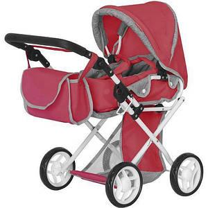 Іграшкова коляска для ляльок з люлькою, лежаче і сидяче положення MELOBO 9346 RED CARRELLO UNICO, червона