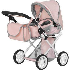 Лялькова коляска з люлькою-переноскою, перекидною ручкою і сумкою MELOBO 9346 PINK CARRELLO UNICO, рожева