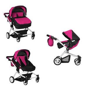 Лялькова коляска для двійні з поворотними колесами і перекидною ручкою MELOBO 9651A HOT PINK, колір рожевий