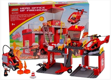 Дитячий конструктор пожежний ділянку зі звуковими і світловими ефектами JIXIN 9188 A (70 деталей)