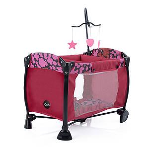 Металева дитяче ліжечко-манеж для ляльки, в комплекті підвіска з іграшками D-90650, колір малиновий