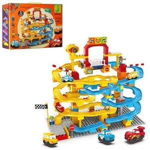 """Крупноблочный конструктор для дітей """"Гараж"""" 6628C з машинками і дорожніми знаками"""