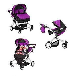 Складна, іграшкова коляска для близнюків з перекидною ручкою MELOBO 9651A PURPLE, колір фіолетовий