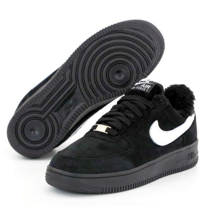 Чоловічі зимові кросівки Nike Air Force Low Black | Найк Аір Форс Лоу Чорні з хутром