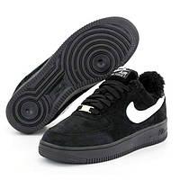 Чоловічі зимові кросівки Nike Air Force Low Black | Найк Аір Форс Лоу Чорні з хутром, фото 1