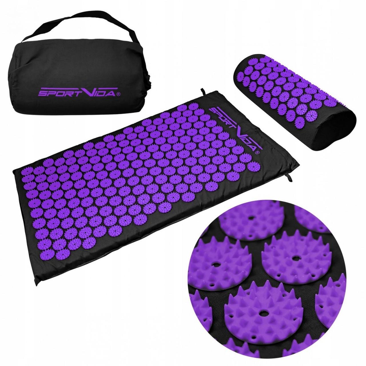 Коврик акупунктурный с валиком SportVida Аппликатор Кузнецова 66 x 40 см SV-HK0408 Black/Violet
