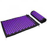 Коврик акупунктурный с валиком SportVida Аппликатор Кузнецова 66 x 40 см SV-HK0408 Black/Violet, фото 5