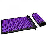 Коврик акупунктурный с валиком SportVida Аппликатор Кузнецова 66 x 40 см SV-HK0408 Black/Violet, фото 6