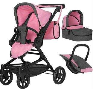 Іграшкова коляска-трансформер для ляльок 3 в 1 з люлькою і сидінням MELOBO 9636 PINK CARRELLO MAGIA , рожева