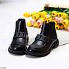 Молодіжні чорні жіночі низькі черевики челсі на флісі з декором 36-23 37-23,5 38-24 39-24,5 40-25см, фото 2
