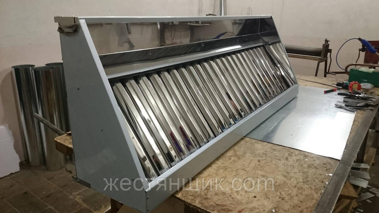 Зонт вытяжной пристенный из оцинкованной стали с жироуловителем, промышленные 500x1400