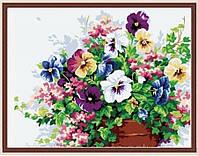 Картины раскраски на холсте цветы Анютины глазки 40 х 50 см KH143
