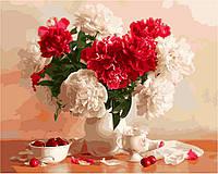Раскраски по номерам на холсте цветы Пионы и вишни худ. Гельтс Луиза 40 х 50 см KH2055