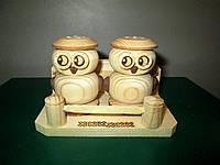 Деревянный набор для специй из двух предметов Совы, ручная работа