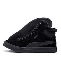Чоловічі зимові шкіряні черевики Puma Black (репліка), фото 1