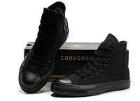"""Кеды женские текстильные Converse All Star  Original """"Полностью черные высокие"""" 36,38 рр, фото 1"""