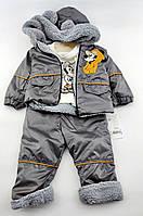 Костюм теплий 3, 6, 9, 12, 18 місяців Туреччина теплий для немовляти сірий (КНК24)