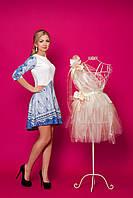 Молодежное принтированное женское платье с 3/4 рукавом