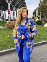 Женский спортивный вязаный костюм тройка, (Турция); Размеры:универсальный (46-48-50-52); 4 цвета на фото.
