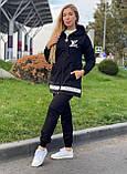 Жіночий брендовий спортивний костюм (Туреччина); розм S M L XL, тканина двунитка, колір чорний., фото 2