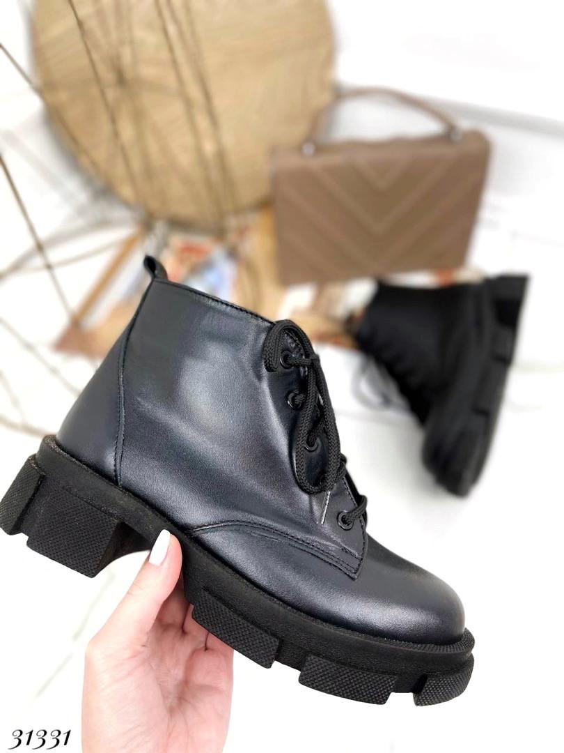 Ботинки демисезонные на шнуровке короткие. Утеплены байкой Цвет: чёрный Материал: натуральная кожа