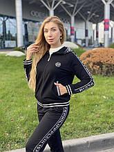 Женский брендовый спортивный костюм (Турция); разм S M L XL, ткань двунитка, цвет черный.