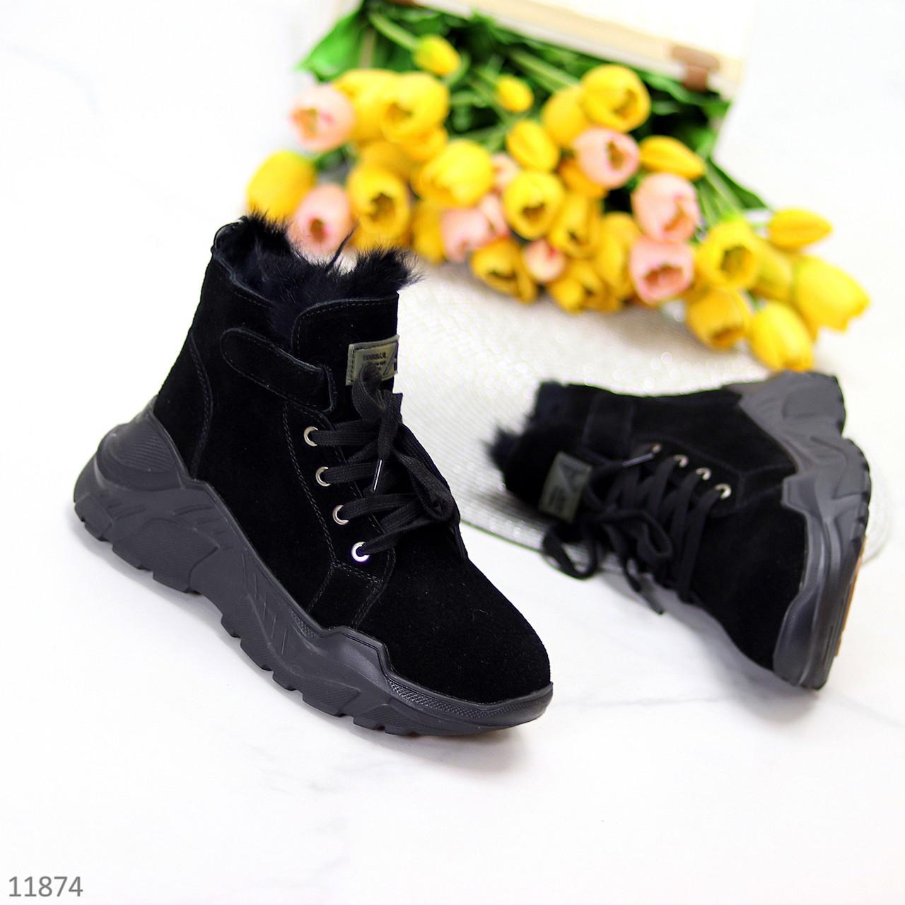 Модні жіночі чорні замшеві зимові черевики на невисокій платформі