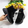 Модні жіночі чорні замшеві зимові черевики на невисокій платформі, фото 8