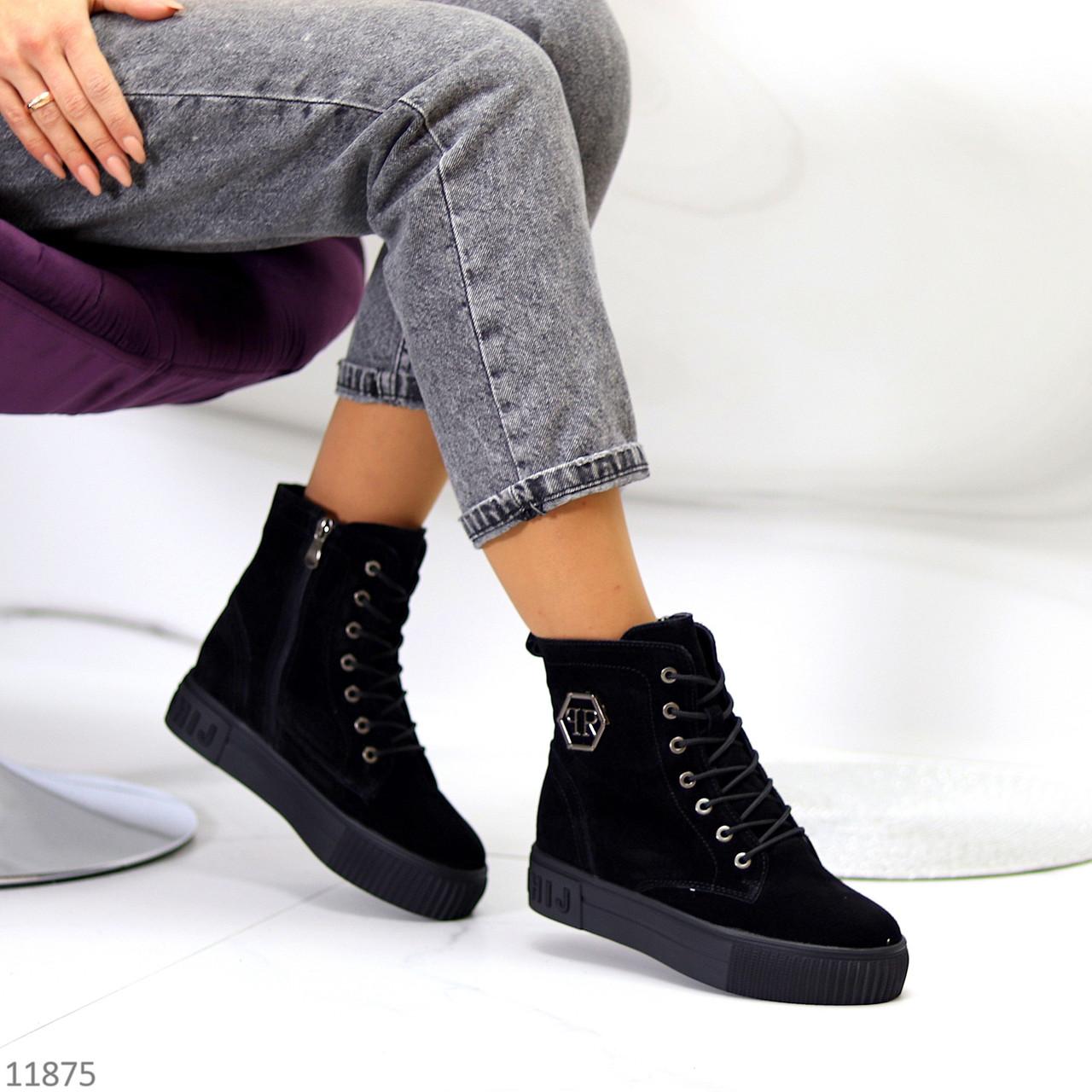 Удобные повседневные черные замшевые женские зимние ботинки натуральная замша