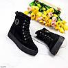 Удобные повседневные черные замшевые женские зимние ботинки натуральная замша, фото 8