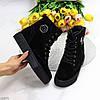 Удобные повседневные черные замшевые женские зимние ботинки натуральная замша, фото 10