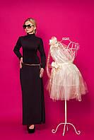 Длинное баклажонновое  платье-чулок
