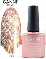 Гель лак Canni 184 (розовый с голографическими блестками)