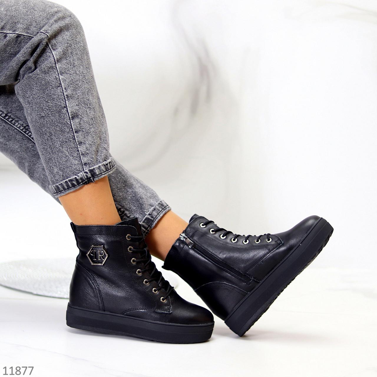 Удобные повседневные черные кожаные женские зимние ботинки натуральная кожа