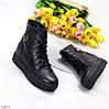 Удобные повседневные черные кожаные женские зимние ботинки натуральная кожа, фото 6